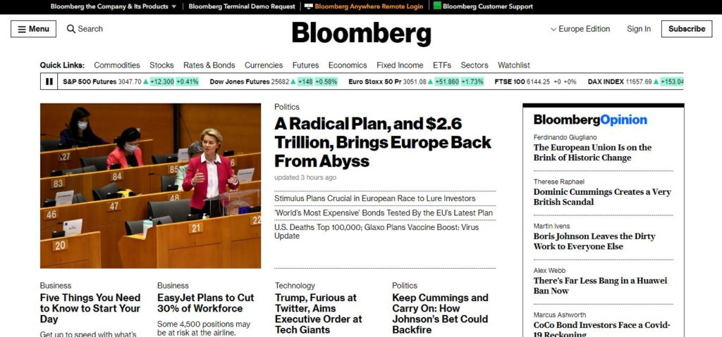 site bloomberg web design brutaliste